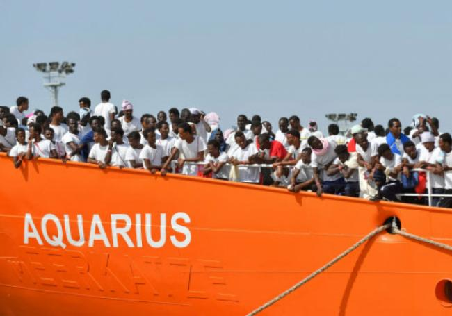 Refuges on Aquarius 2 migrant ship in mediterranean sea