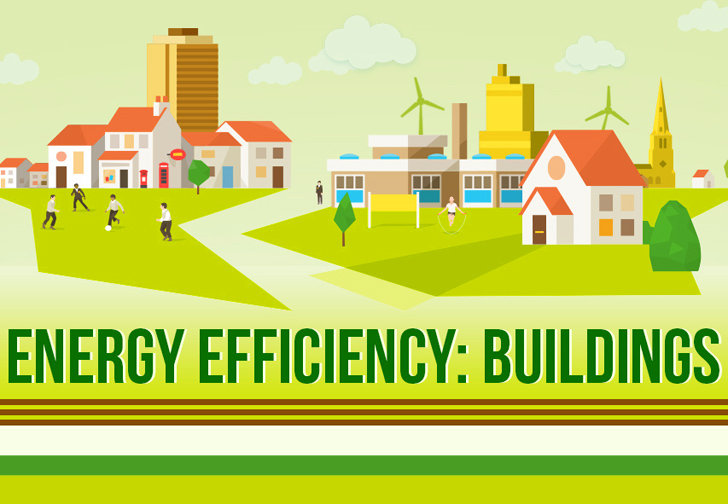 Energy Efficiency: buildings, green infographic with factories