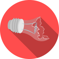 Energy poverty broken ligth bulb