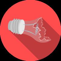 Energy poverty broken ligth bulb