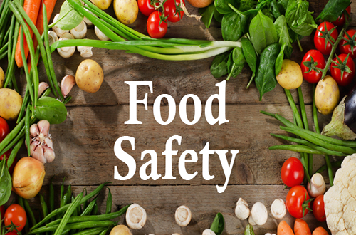 Fruit and vegetables and words Food safety
