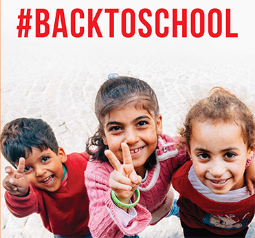 GPF: A Lost Generation - #Back to School Poster, with 3 refugee children