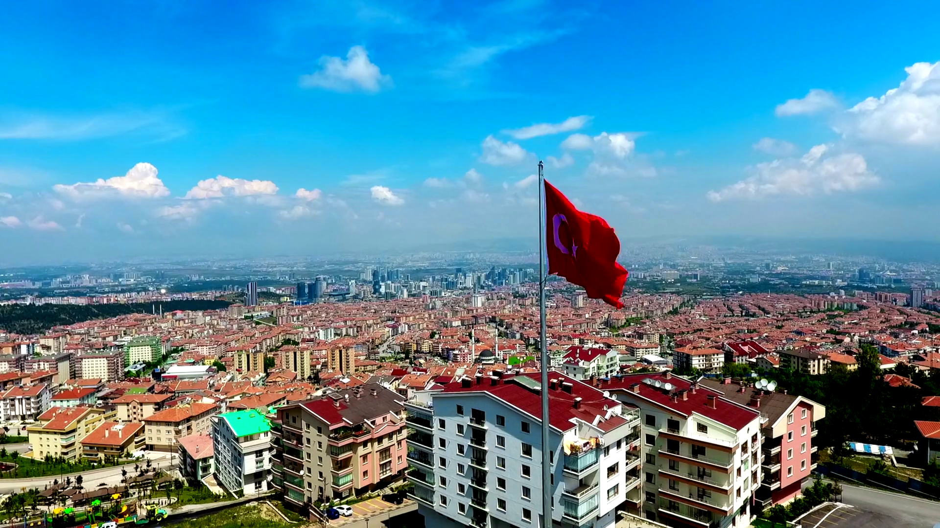 Turkey Flag over Ankara in Turkey