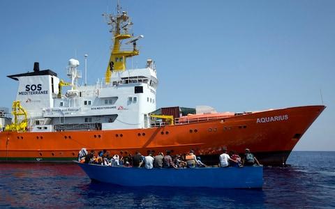Aquarius migrant boat as sea with refugees