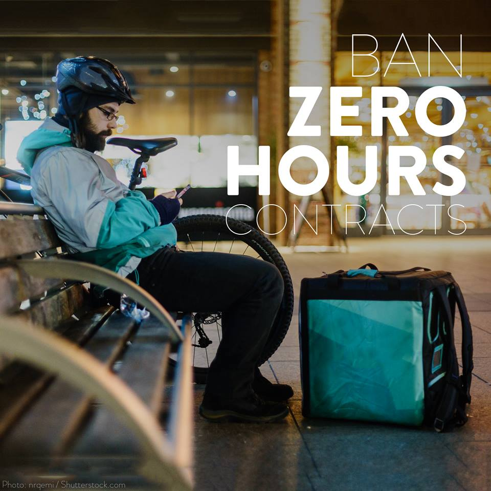Ban zero hours contracts - delivery man on bench with bike and pizza in rucksack