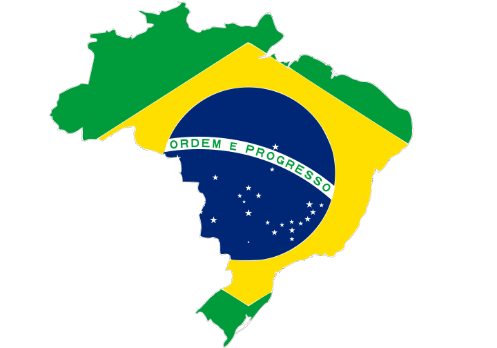 Brazil and flag over it