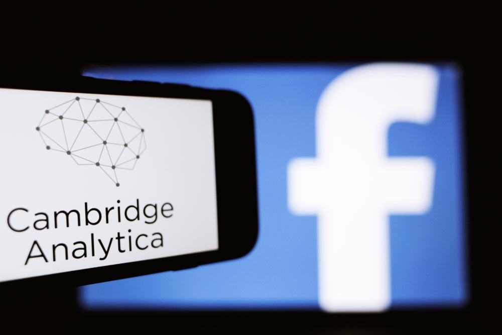 Cambridge Analytica and FB logos