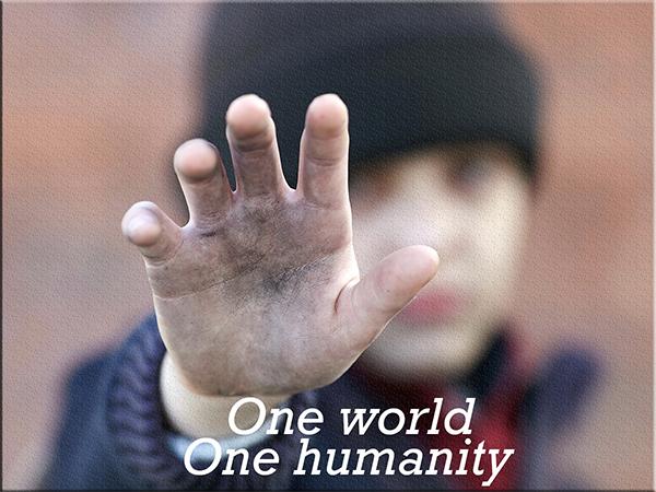 Childs hand, one world, one democracy