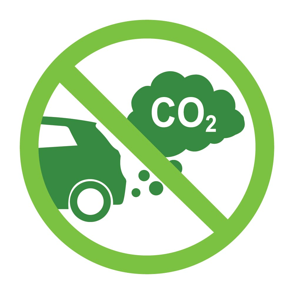 CO2 logo over car and exhaust fumes