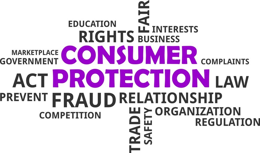 Words in puzzel describing consumer protection