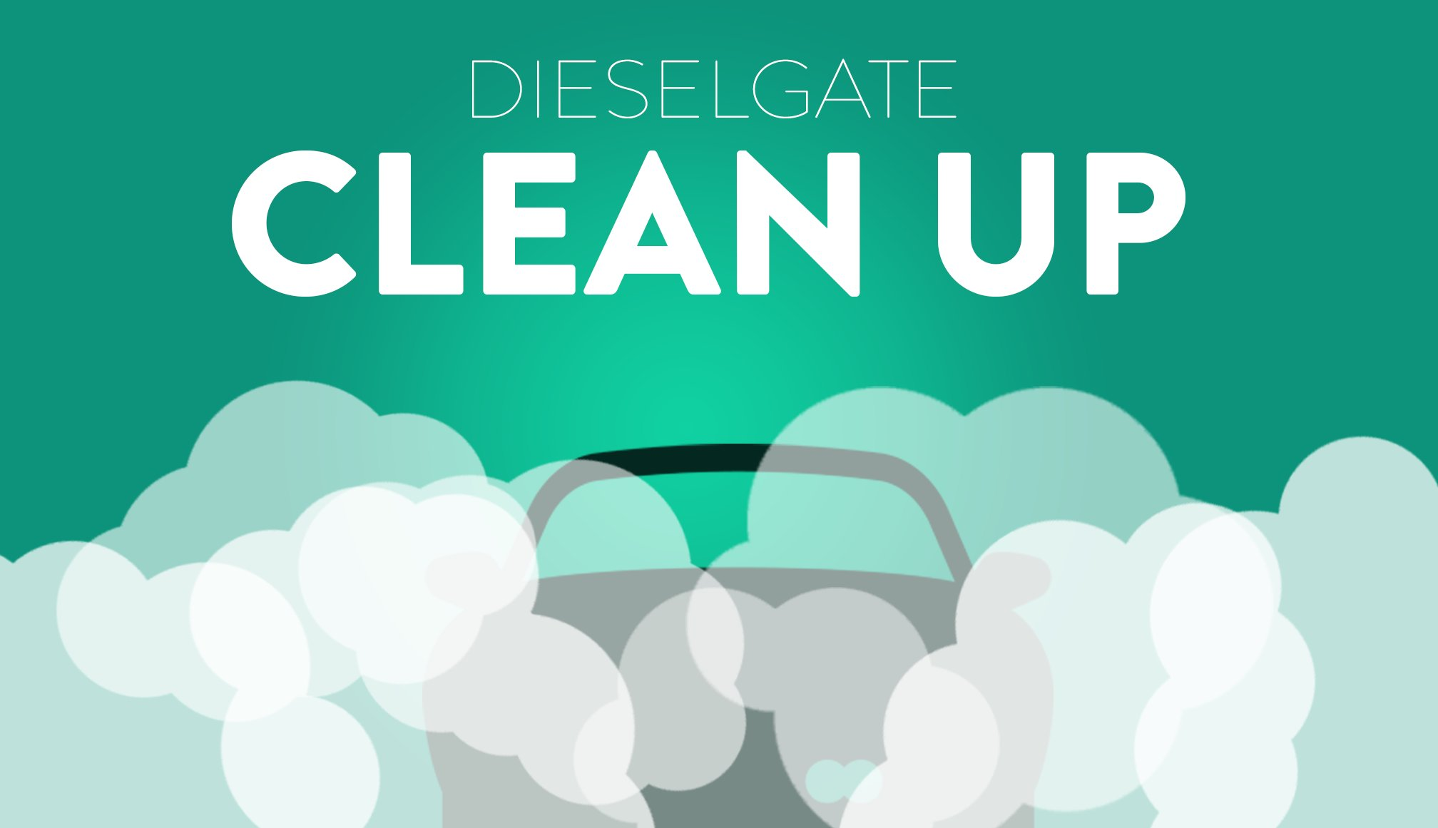 Dieselgate Clean Up, car fumes with green background