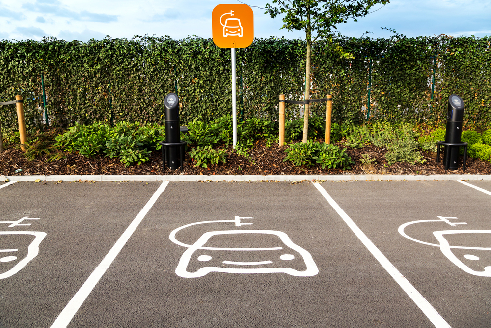 electric car charging ports on motorway