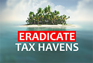 Trees on small island and words eradicate tax havens