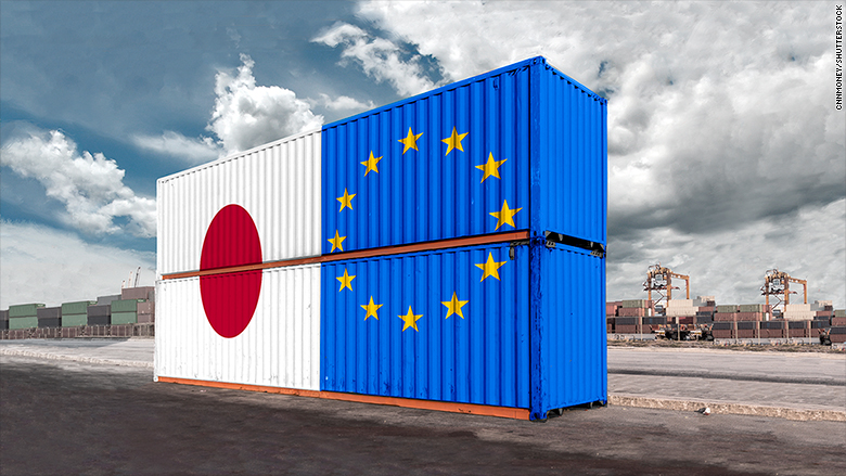 EU Japan flags on containers