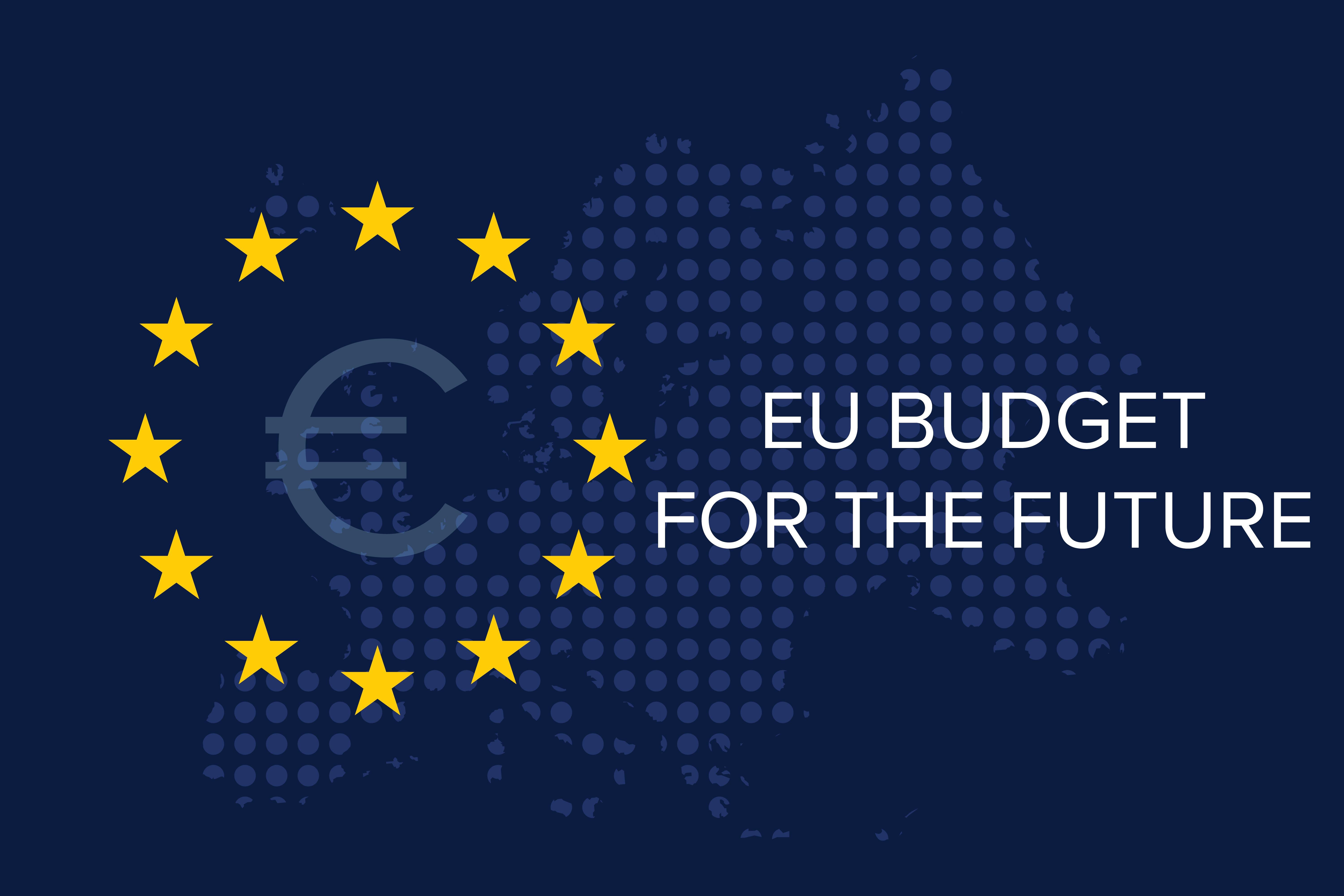 € sign in EU stars and words EU BUDGET FOR THE FUTURE