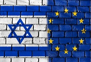 Israel and EU flags on wall