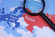 EU Russia maps and magnifying glass