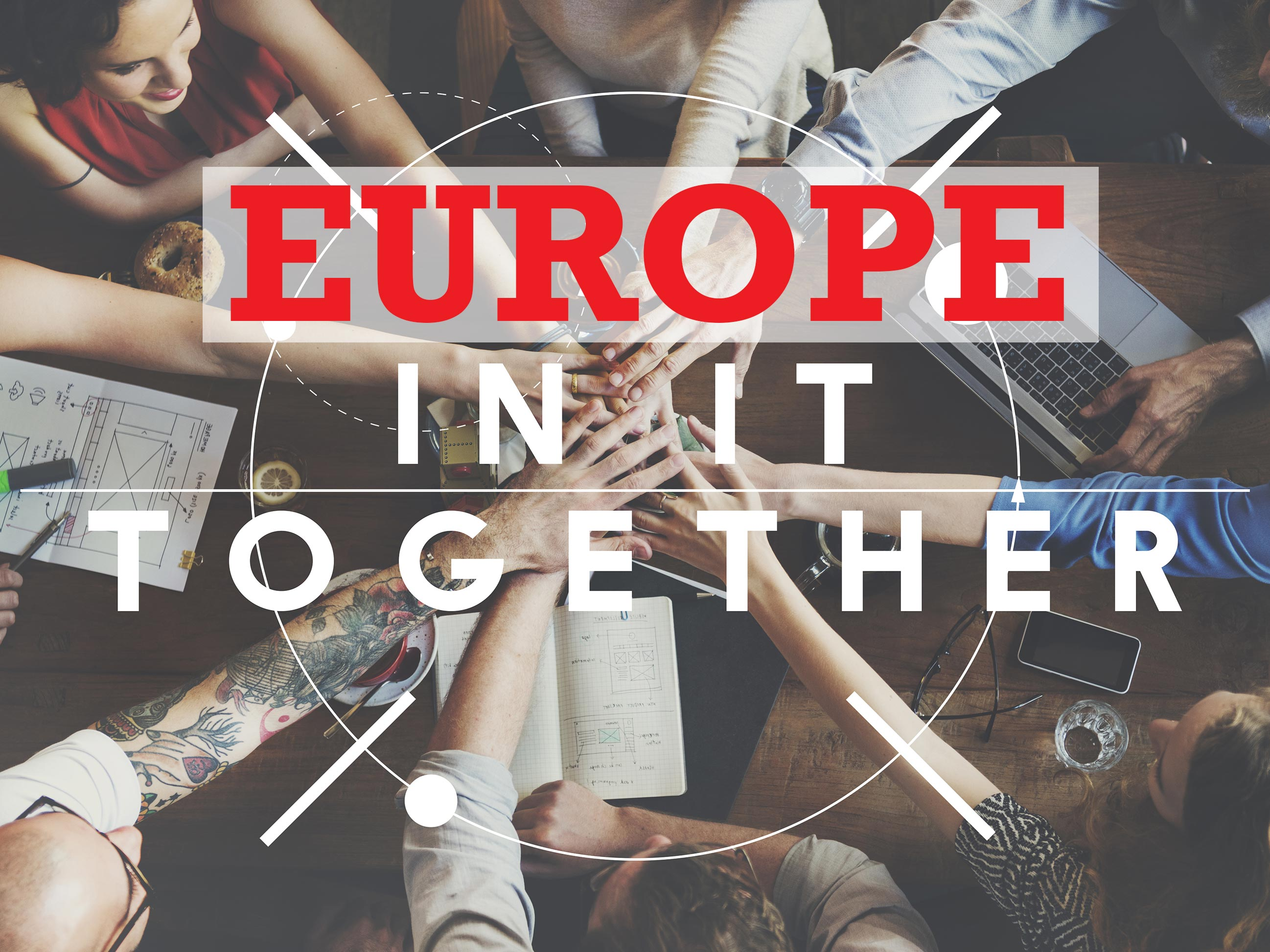 Hands in a circle and rtext - Europe in it together