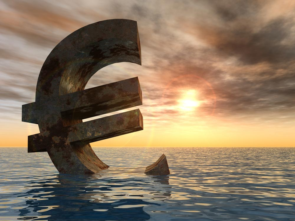 Euro sign drowning in the sea