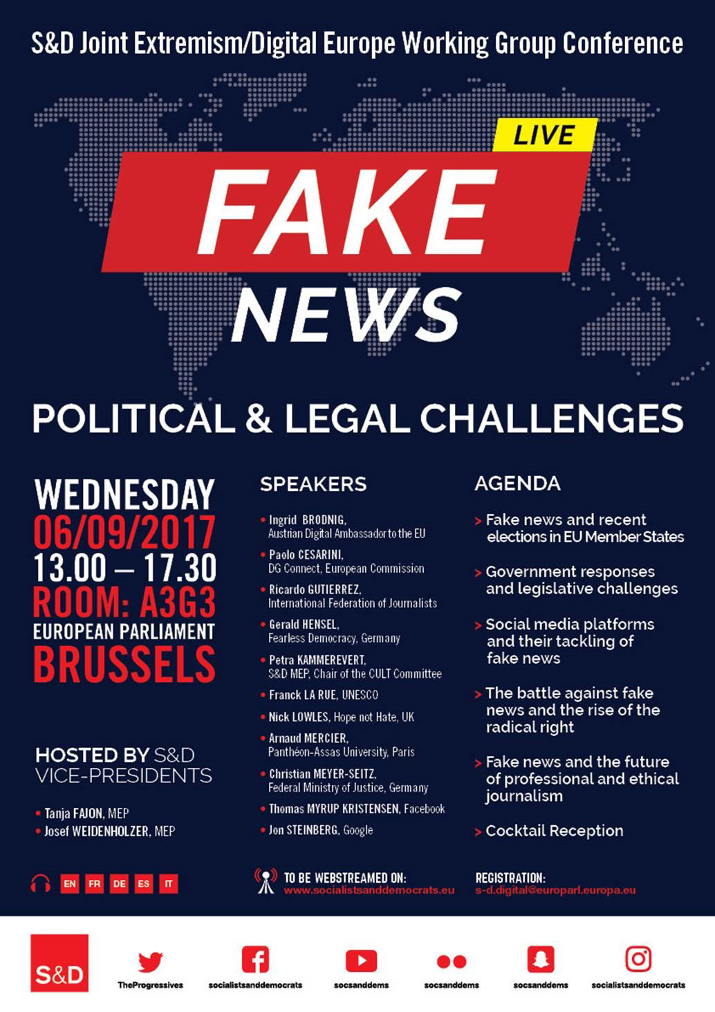 S&D Joint Extremism/Digital Europe Working Group Conference - Fake News: Political and Legal Challenges.
