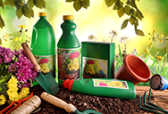 carcinogenic fertilizer products bottles iin garden