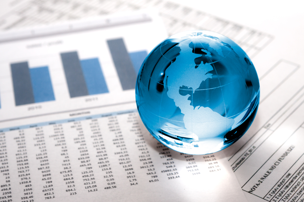 World globe and stocks and shares charts