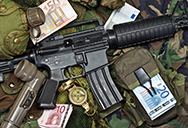 Automatic rifle and euro notes