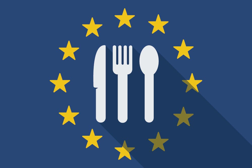 European stars and knife, fork and spoon inside circle