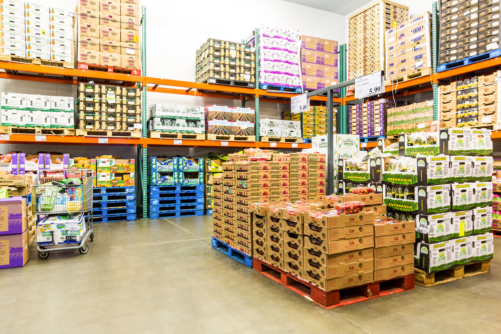 Food in warehouse on palettes waiting for distribution