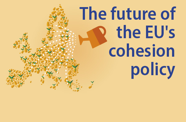 Watering can over eu map and words future of cohesion policy