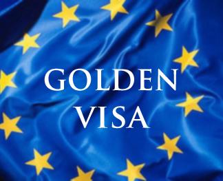 EU flag and words GOLDEN VISA