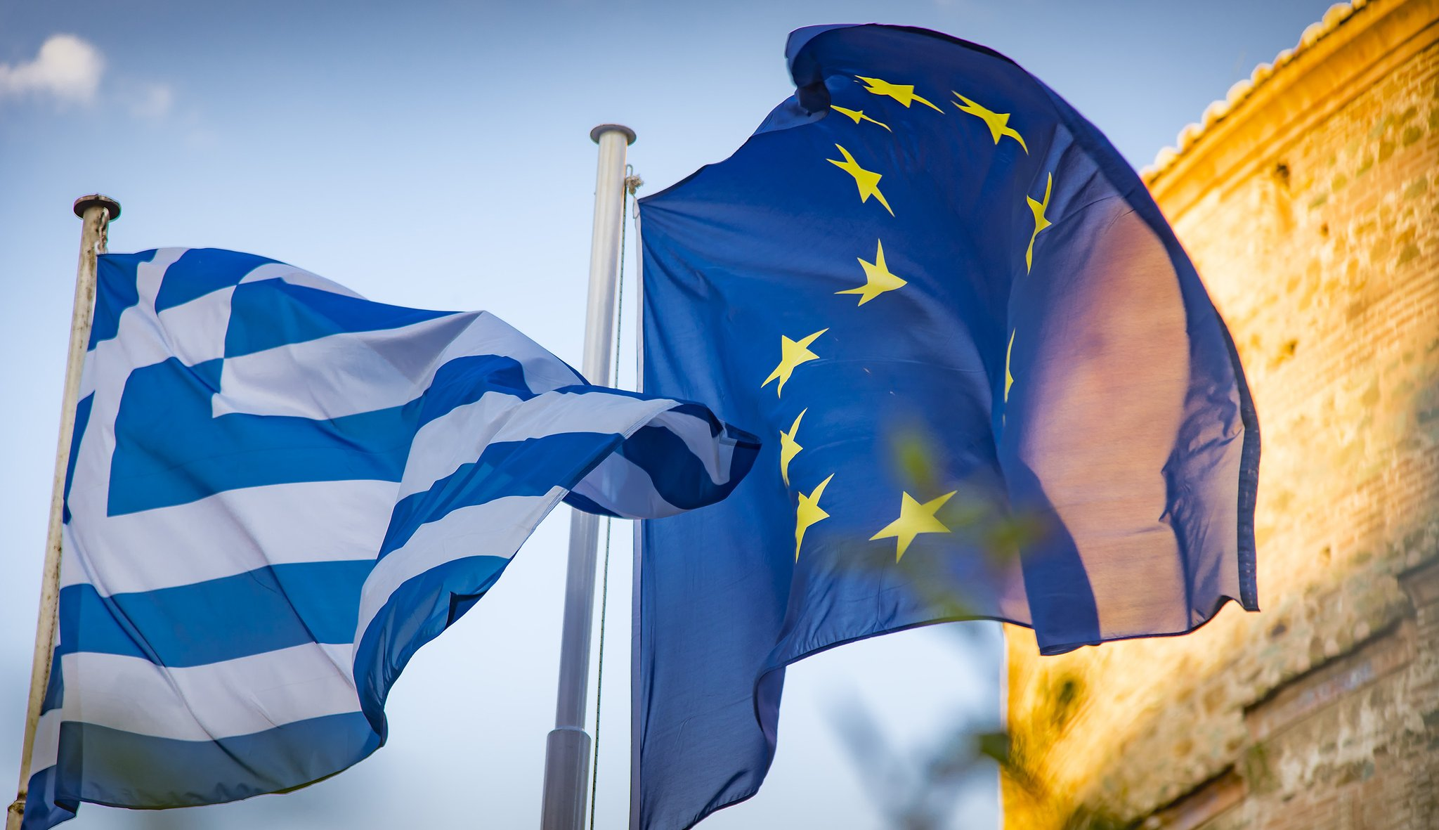 Greece and EU flags in Greece