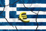 Greece flag and Euro sign
