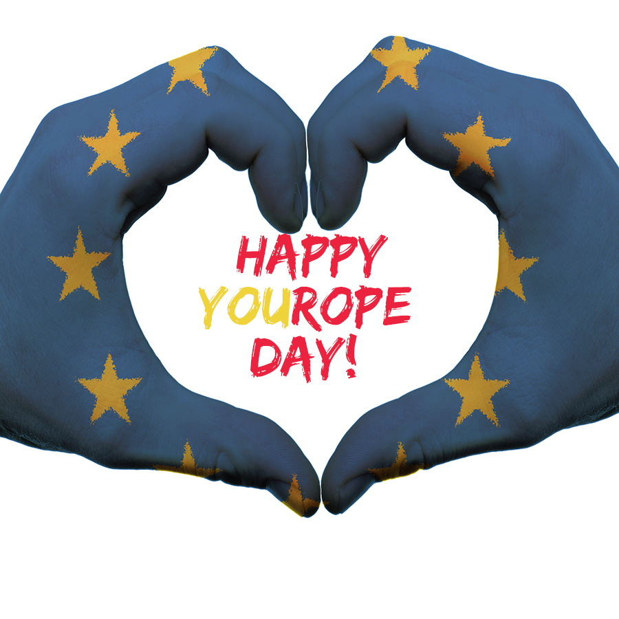 Hands painted with EU flags and words happy YOUrope day