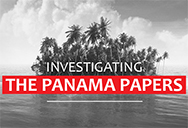 Panama papers written over grey island