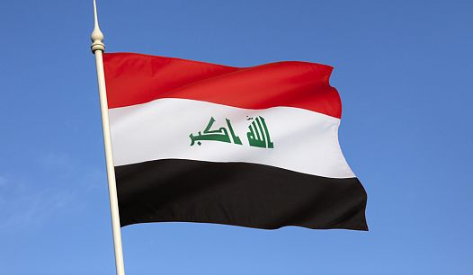 Iraq's Flag in blue sky