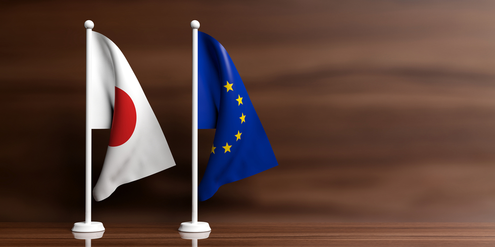 Miniature Japanese and EU flags