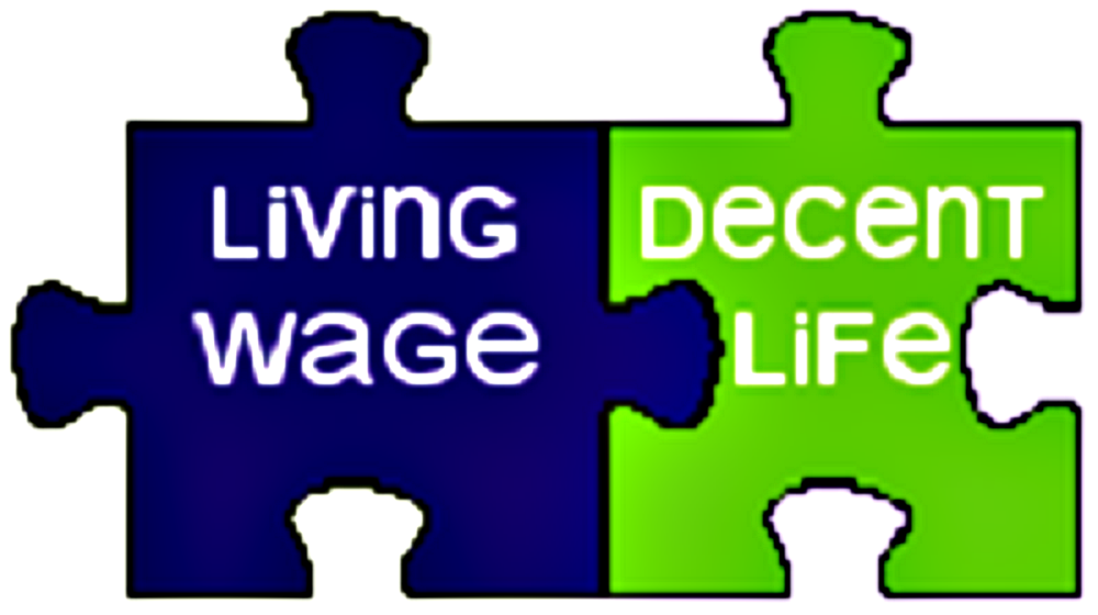Puzzle with writing living wage better life