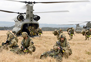 Army helicopter and military men training