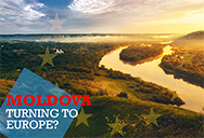 Moldova lake and turning to Europe slogan
