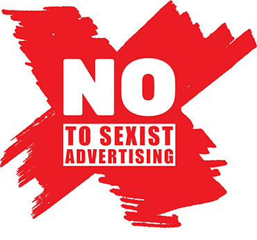 No to sexist advertisement logo - red cross with writing on top