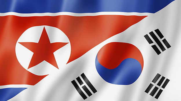 North South Korea flags