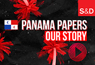 red PANAMA PAPERS words on black background