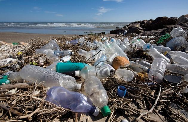 Plastic bottels and bags in ocean