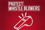 Protect whistle blowers text on whistle