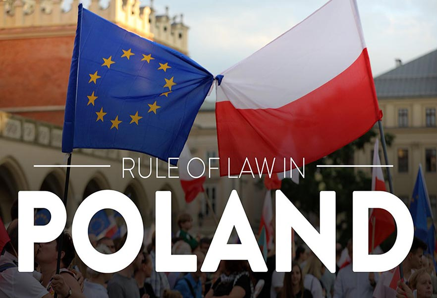 EU Polish flag and RULE OF LAW IN POLAND