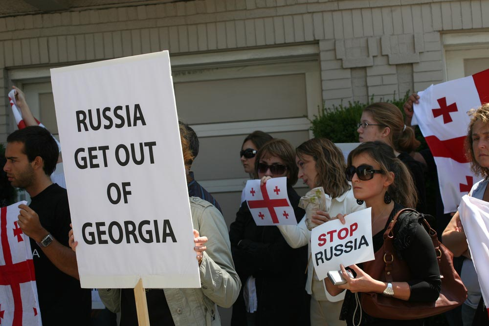 People in Georgia with sign Russia get out