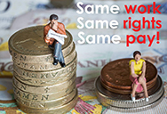 same work rights pay women gender equality - man on higher money stack than woman