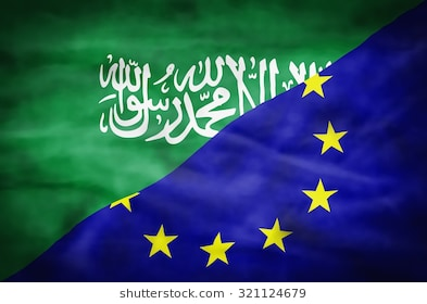 Saudi Arabia and EU flags joined together