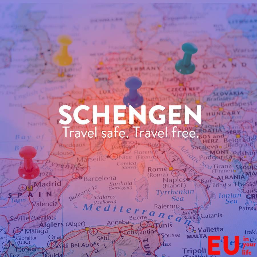 Schengen in EU - on EU map and board pins